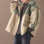 Contrast Color Loose Stitching Hooded Jacket