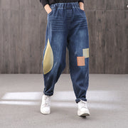 Contrast Color Patchwork Denim Harem Pants