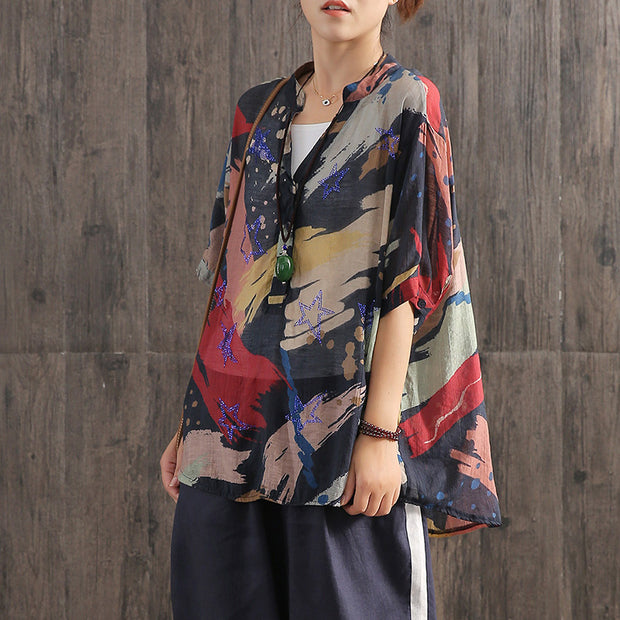 Contrast Color Printed V-Neck Loose Blouse