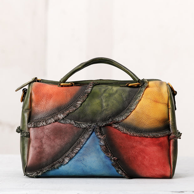 Contrast Color Retro Natural Burrs Crossbody Bag