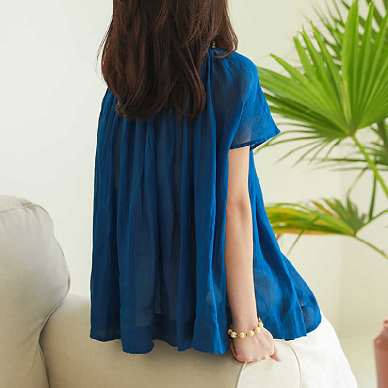 O-neck Solid Color Pleated Plus Size T-Shirt