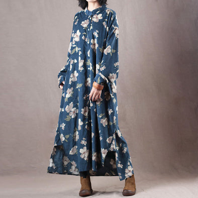 Corduroy Autumn Floral Midi Dress Literature
