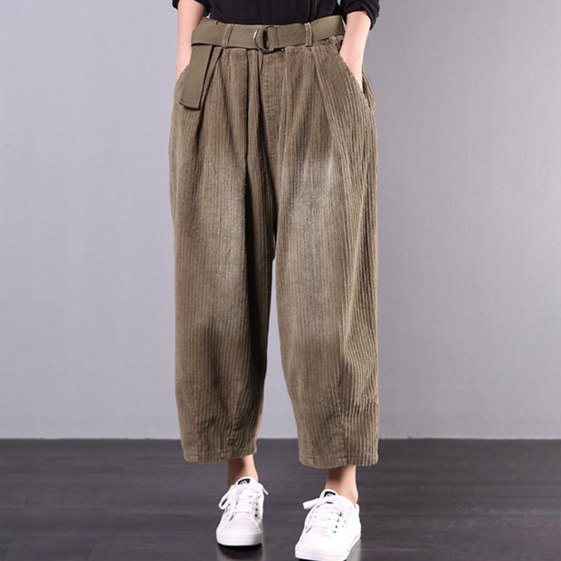 Buykud Corduroy Casual Solid Color Harem Pants