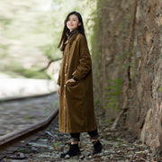 Corduroy Split Loose Burr Women Long Coat