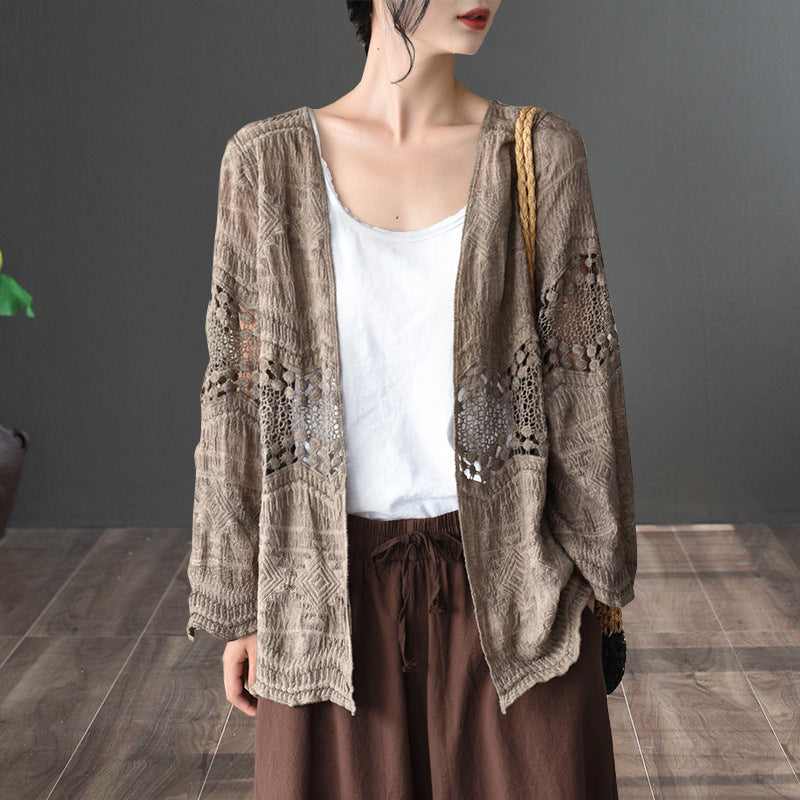 Cotton Casual Women Hollow Cardigan