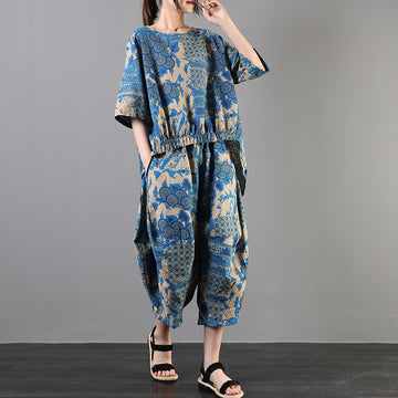 Cotton Linen Printed Irregular Hem Two Piece Set