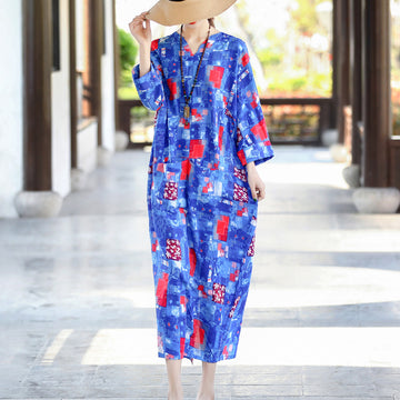 Cotton Linen V-neck Prints Maxi Dress