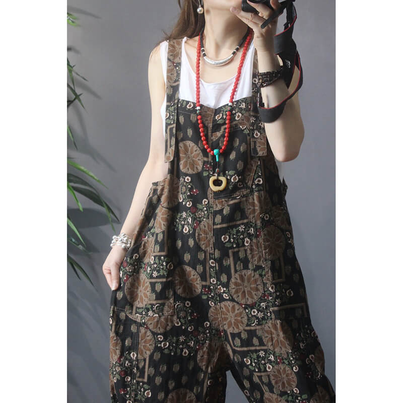 Cotton Linen Women Casual Pocket Floral Jumpsuits Dungarees