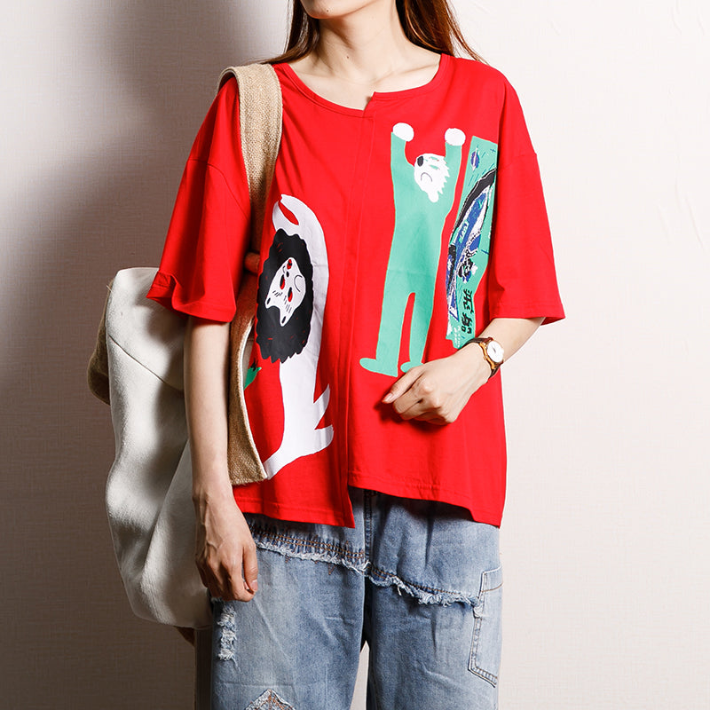Cotton Asymmetrical Print Short Sleeve Blouse