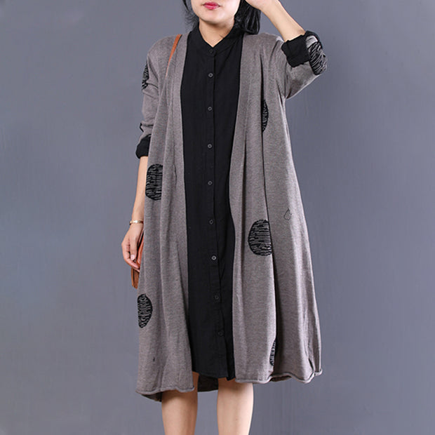 Cotton Casual Dots Long Sleeve Sweater Cardigan