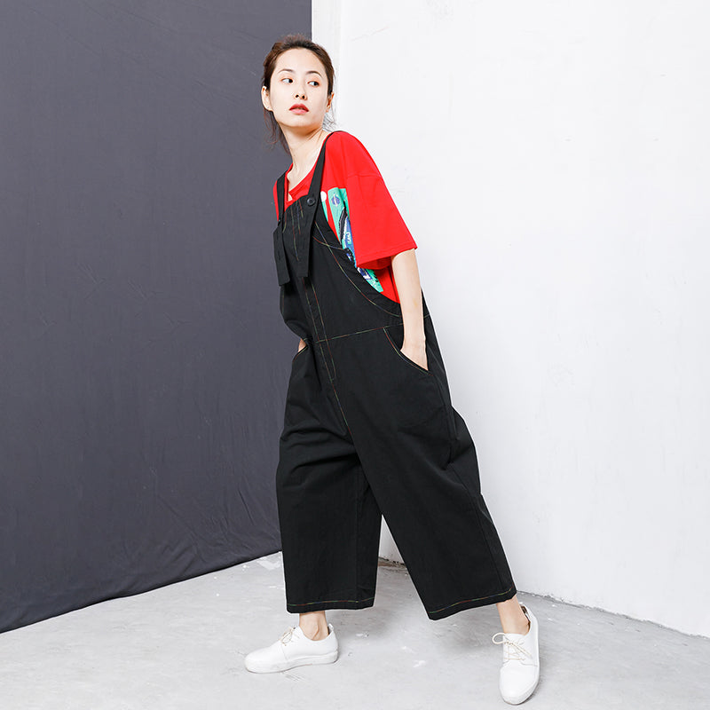 Cotton Casual Line Pockets Button Overalls