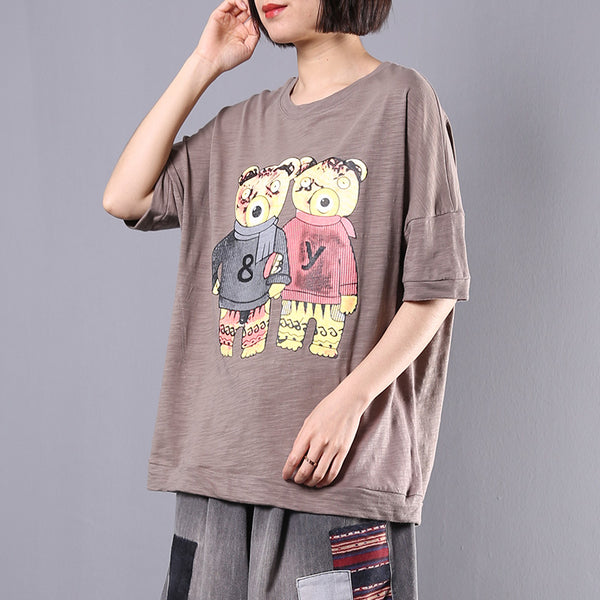 Cotton Casual Print Short Sleeve Blouse