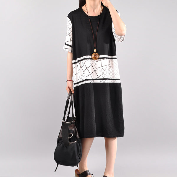 Cotton Casual Spliced Short Sleeve Dress