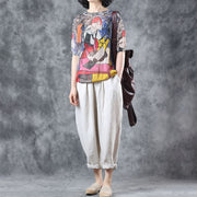 Cotton Character Print Hollow Out Half Sleeve Knitted Sweater