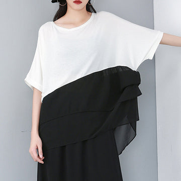 Cotton Chiffon Spliced Solid Color Irregular Blouse