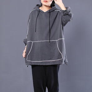 Cotton Gray Women Front Pocket Hooded Hoodie