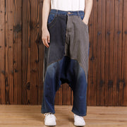 Cotton Irregular Spliced Striped Pockets Jeans