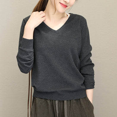 Cotton Lady's Solid V-neck Long Sleeve Pullover Sweater