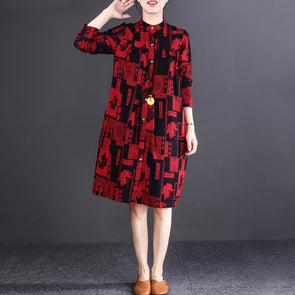 Cotton Linen Autumn Long Sleeve Shirt Dress