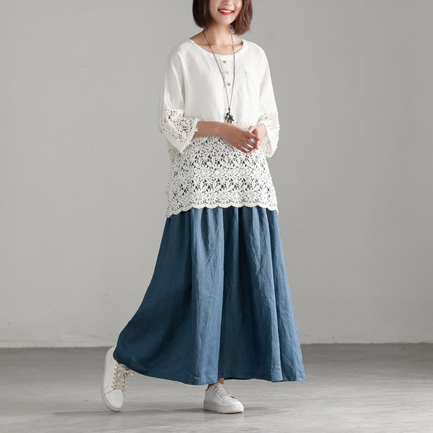 Cotton Linen Blue Loose Casual Long Pleated Skirt