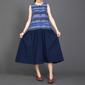 Cotton Linen Blue Splice Sleeveless Dress