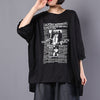 Cotton Linen Casual Print Batwing Sleeve Blouse