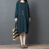 Cotton Linen Dots Loose Knee-length Dress