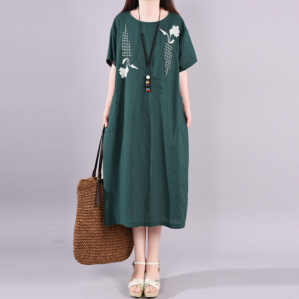Cotton Linen Embroidery Round Neck Dress