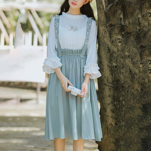 Cotton Linen Fresh Floral Strap Knee-length Dress