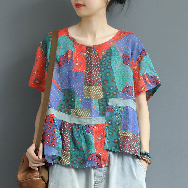 Cotton Linen Irregular Print Short Sleeve Blouse