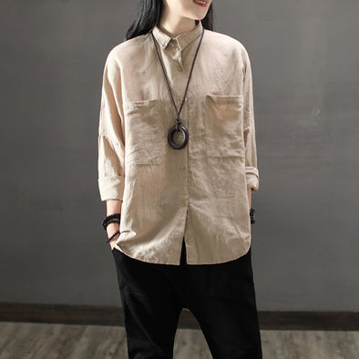 Cotton Linen Large Pockets Autumn Female Shirt