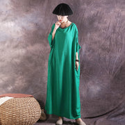Cotton Linen Loose Embroidery Solid Dress
