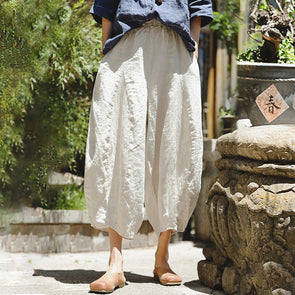 Cotton Linen Plus Size Lantern Pants