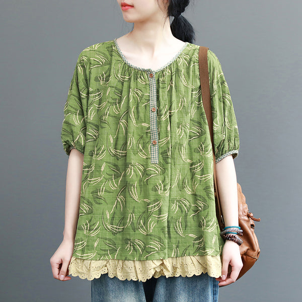 Cotton Linen Print Spliced Lace Blouse
