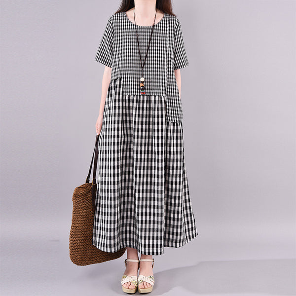 Cotton Linen Round Neck Plaid Dress