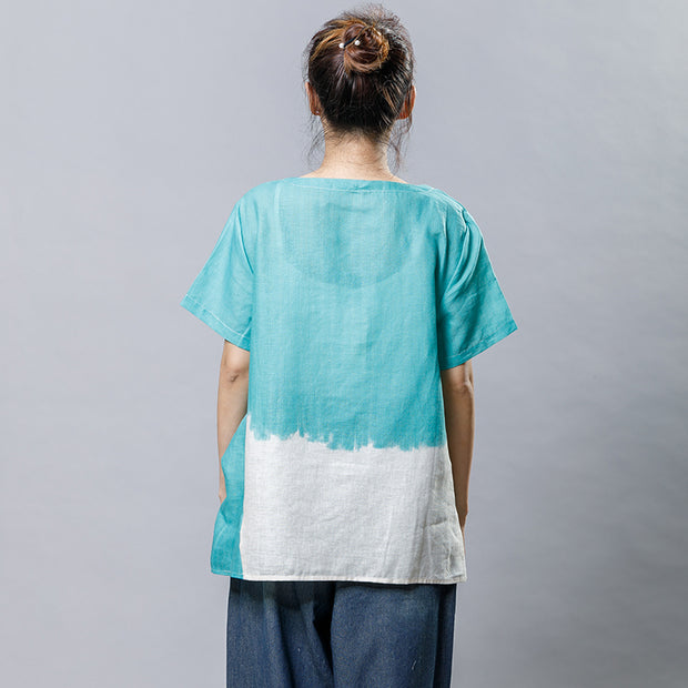 Cotton Linen Short Sleeve Irregular Blouse