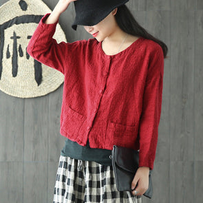Cotton Linen Short Solid Women Autumn Coat