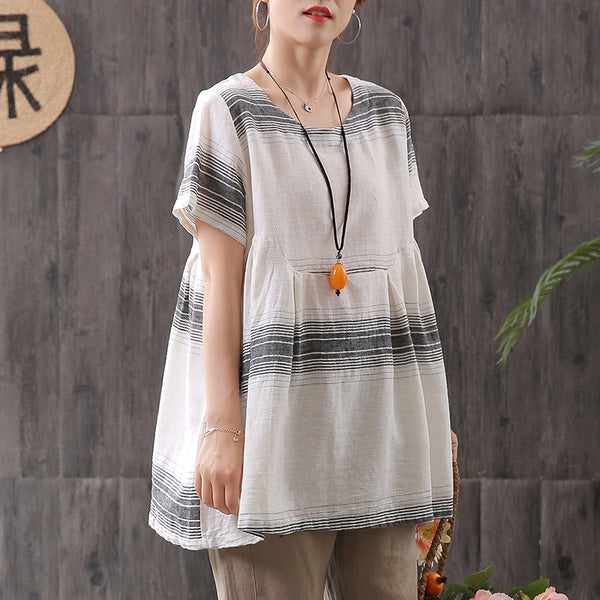 Cotton Linen Striped Pleated Short Sleeve T-shirt