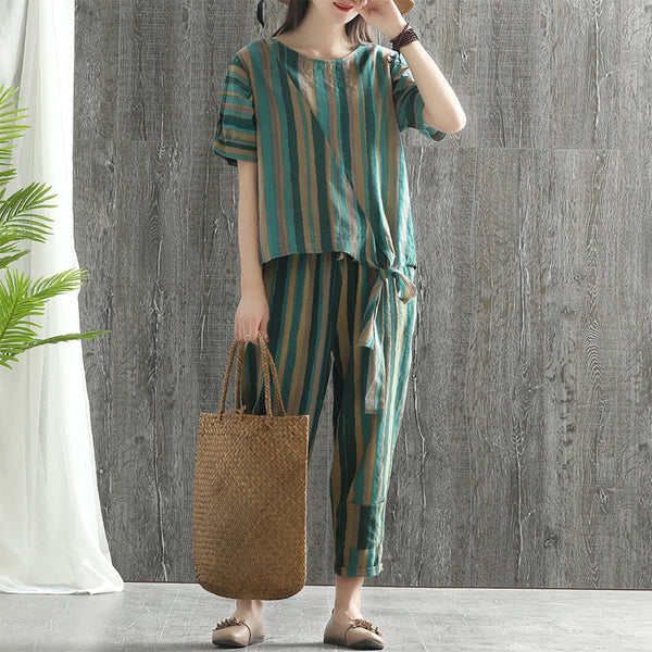 Cotton Linen Striped Short Sleeve Blouse And Pants