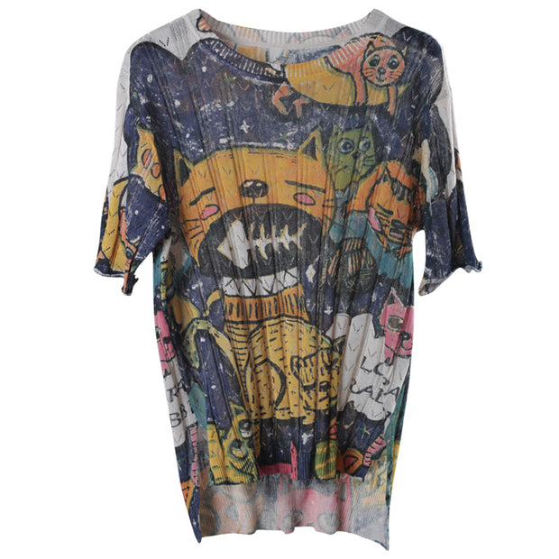 Cotton Literary Print Hollow Out Half Sleeve Knitted Sweater