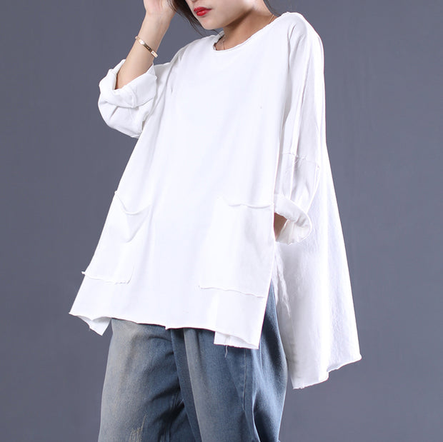 Cotton Loose Double Pockets Solid T-shirt