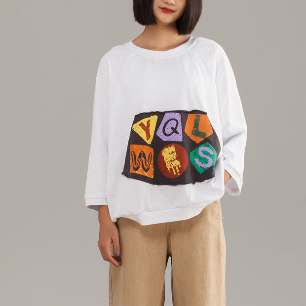 Cotton Loose Pullover Long Sleeve T-Shirt