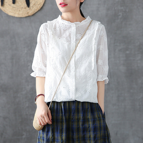 Cotton Soild Embroidery Hollow Out Shirt