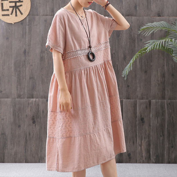 Cotton Solid Short Sleeve A-Line Dress