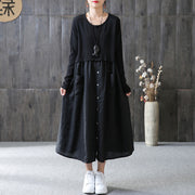 Cotton Solid Spliced Female Long Sleeve Black Dress