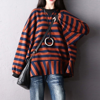 Cotton Striped Pullover Long Sleeve Casual Sweatshirt