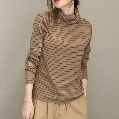 Cotton Stripes Fitting Turtleneck Women Autumn Sweater