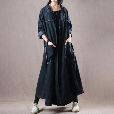 Cotton Women Black Long Denim Coat
