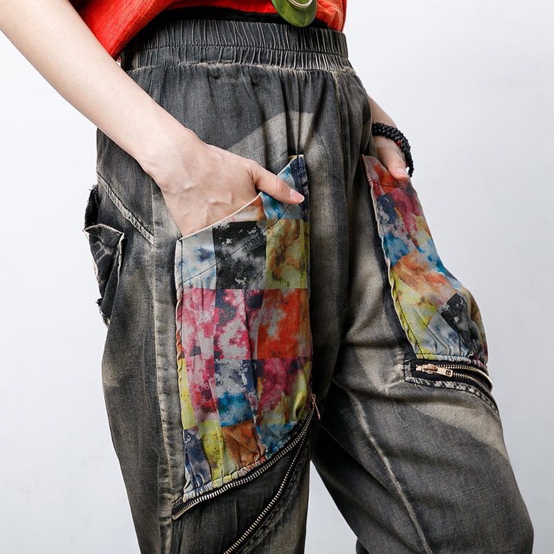 Cotton Zipper Pockets Elastic Waist Jeans