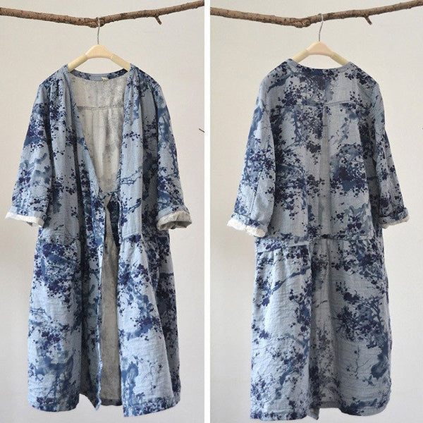 Cotton linen loose fitting coat
